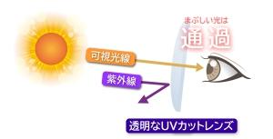 UVは防ぐが可視光は通してしまうクリアUVレンズ